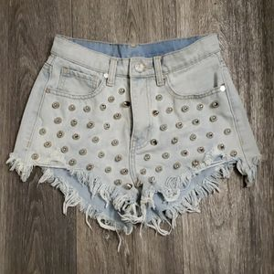 UNIF Heavy Metal Studded Blue Jean Shorts